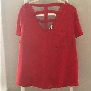 Red shirt sleeve v-neck w/ pocket blouse